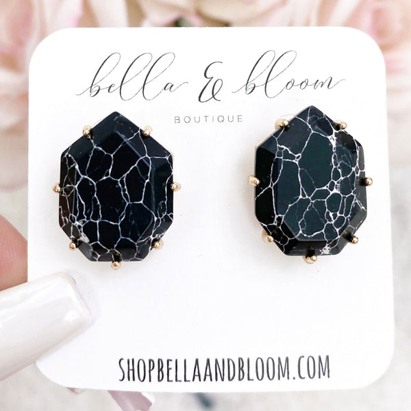 Subtle Pop Stud Earrings: Black Howlite - Bella and Bloom Boutique