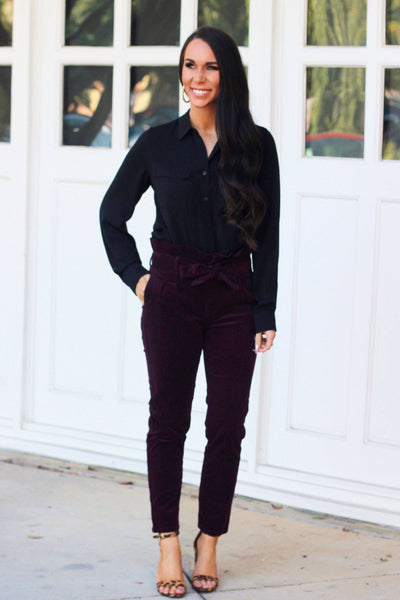 Know What I Want Corduroy Pants: Plum - Bella and Bloom Boutique