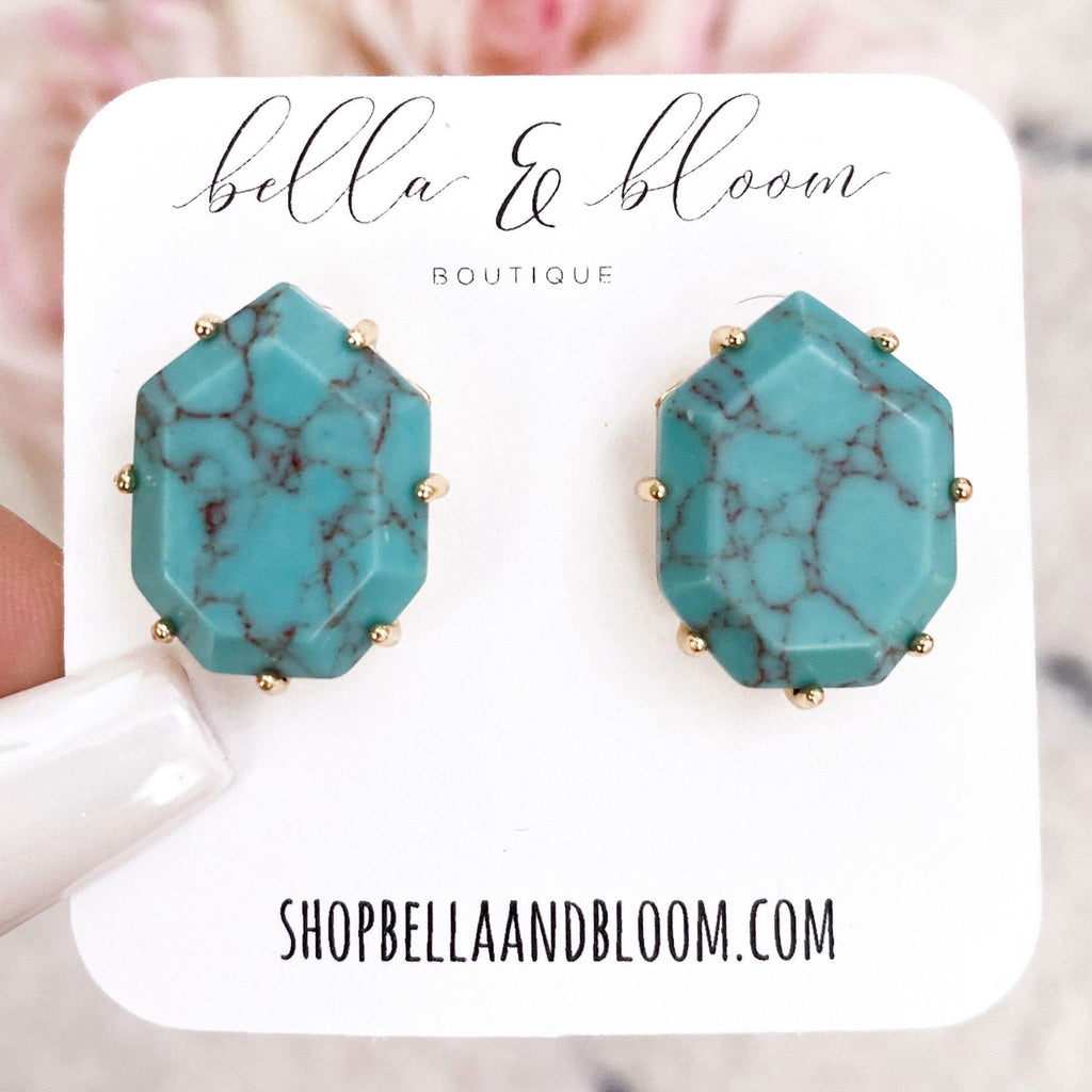 Subtle Pop Stud Earrings: Turquoise - Bella and Bloom Boutique