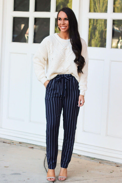 RESTOCKED: Stay in Line Pants: Navy/White - Bella and Bloom Boutique