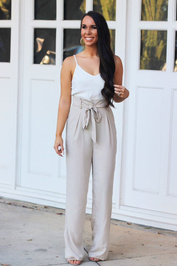Meghan Jumpsuit: Taupe/White - Bella and Bloom Boutique