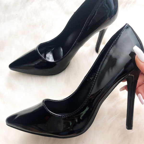 Kate Classic Patent Heels: Black - Bella and Bloom Boutique