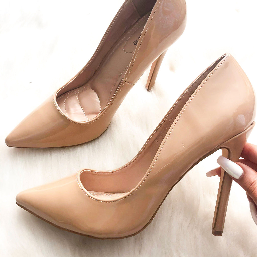 Kate Classic Patent Heels: Nude - Bella and Bloom Boutique