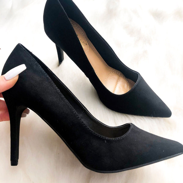 Tiana Suede Heels: Black Suede - Bella and Bloom Boutique