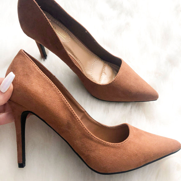 Tiana Suede Heels: Camel Suede - Bella and Bloom Boutique