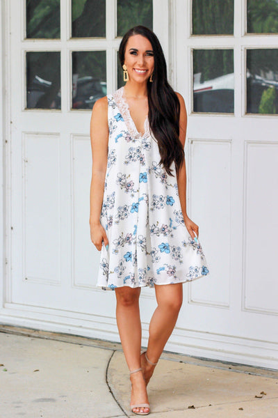 Flower Fields Dress: White - Bella and Bloom Boutique