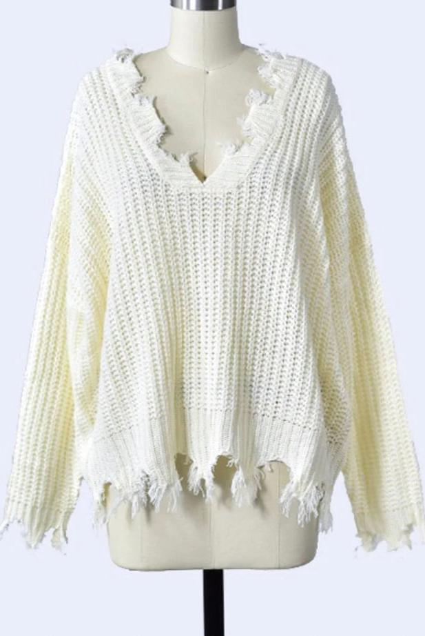 Distressed Essential Sweater: Cream - Bella and Bloom Boutique
