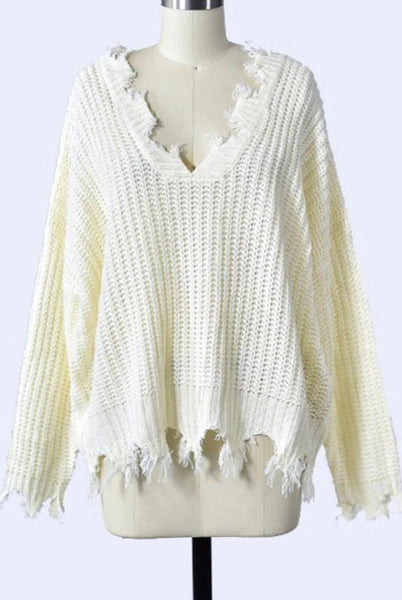 Distressed Essential Sweater: Cream