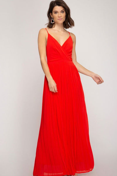 Dance the Night Away Pleated Maxi Dress: Red - Bella and Bloom Boutique