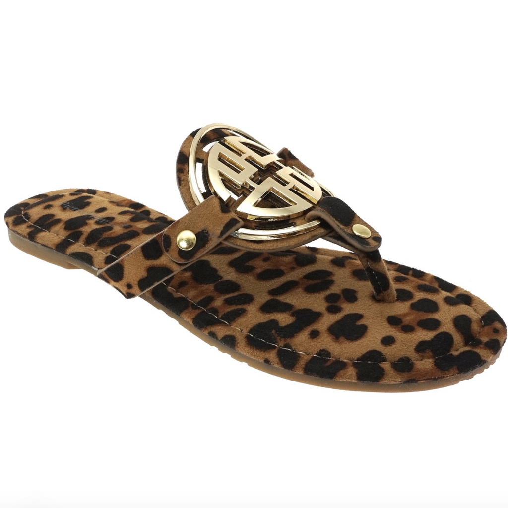 PRE-ORDER: Bryleigh Medallion Sandals: Leopard/Gold - Bella and Bloom Boutique