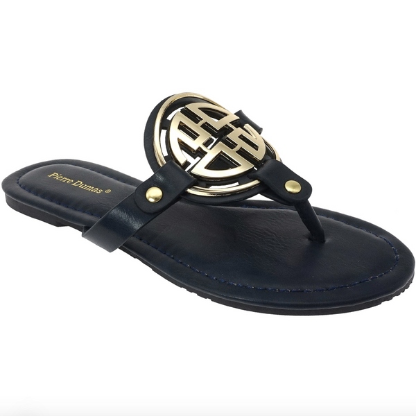 RESTOCK: Bryleigh Medallion Sandals: Navy/Gold - Bella and Bloom Boutique