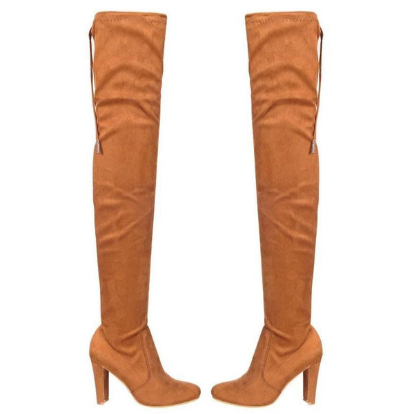 RESTOCK: Jessica Over the Knee Boots: Camel Suede - Bella and Bloom Boutique