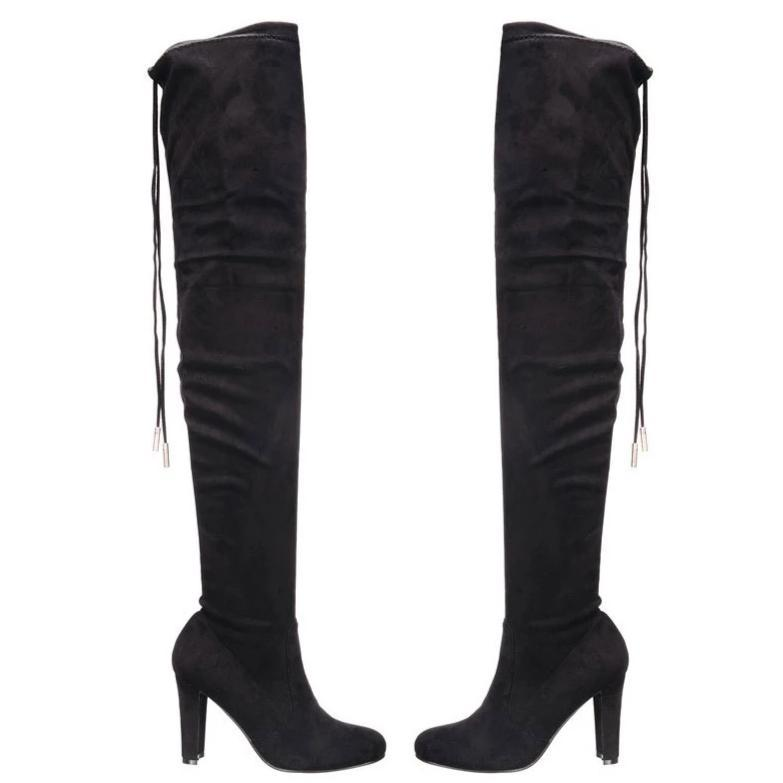 RESTOCK: Jessica Over the Knee Boots: Black Suede - Bella and Bloom Boutique