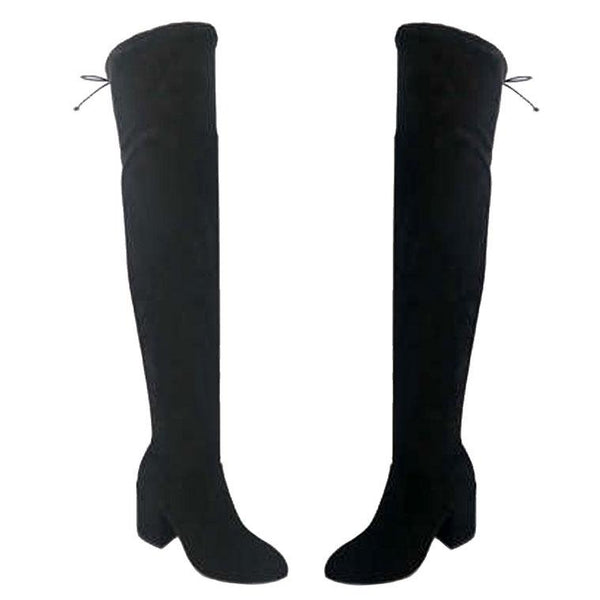 Camilla Over the Knee Boots: Black Suede - Bella and Bloom Boutique
