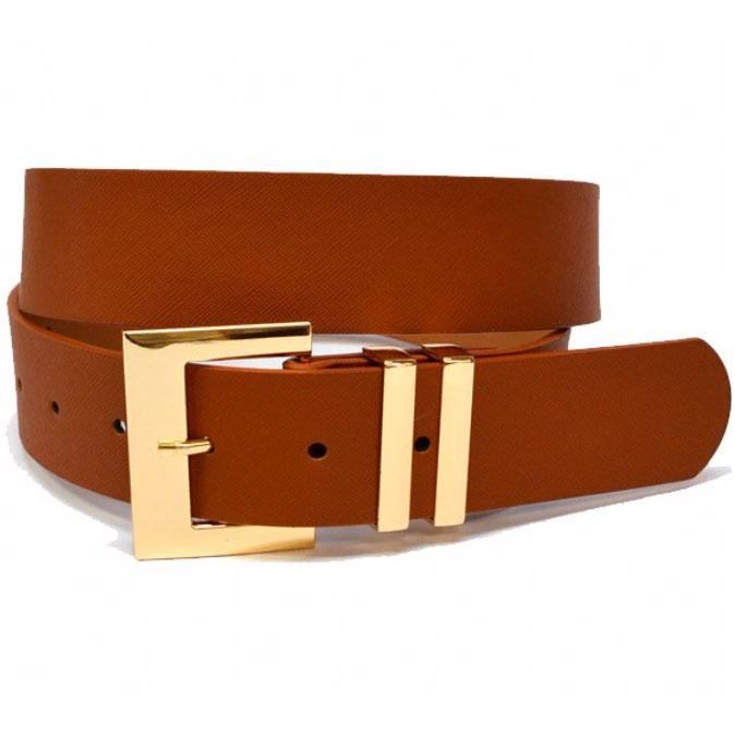 Classic Square Buckle Belt: Cognac - Bella and Bloom Boutique