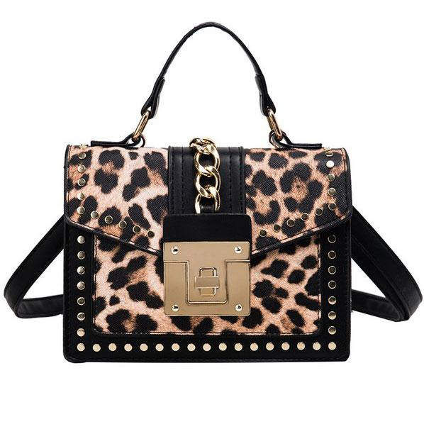 RESTOCK: Chic Queen Crossbody Bag: Black/Leopard - Bella and Bloom Boutique