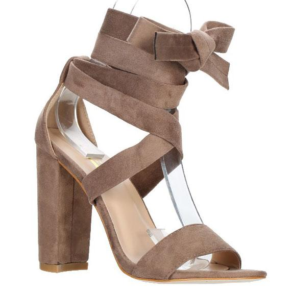 Juliette Lace Up Block Heels: Taupe Suede