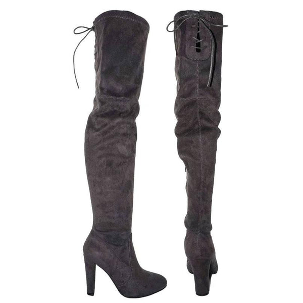Tamica Over the Knee Boots: Dark Gray Suede - Bella and Bloom Boutique