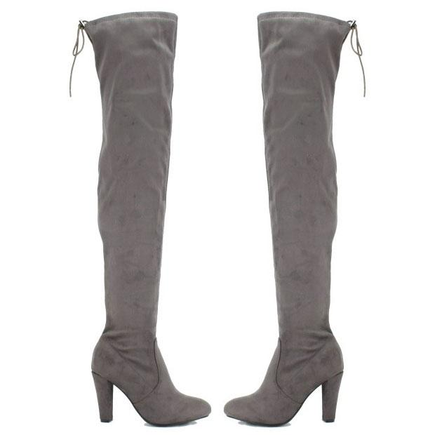 Jessica Over the Knee Boots: Gray Suede - Bella and Bloom Boutique