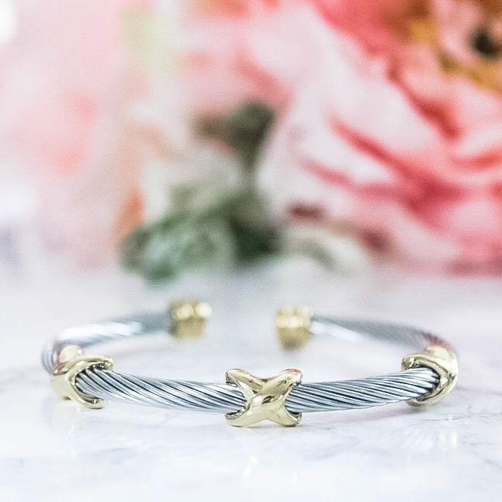 RESTOCK: Cross My Heart Bangle: Silver/Gold - Bella and Bloom Boutique