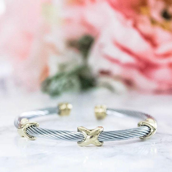 RESTOCK: Cross My Heart Bangle: Silver/Gold