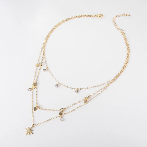 Star Drop Three Layered Necklace: Gold - Bella and Bloom Boutique