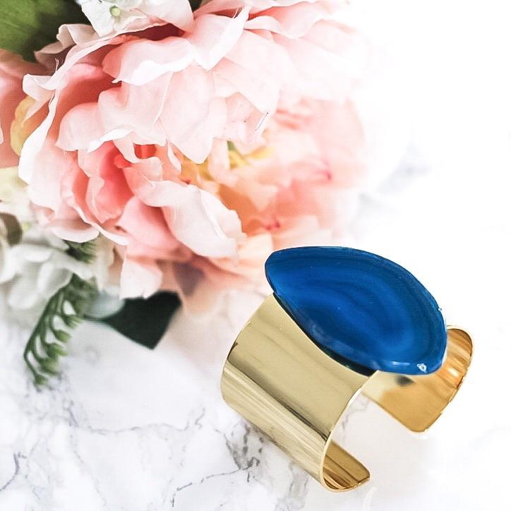 Agate Cuff: Blue - Bella and Bloom Boutique