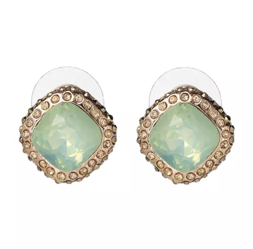 Crown Jewel Earrings: Light Green - Bella and Bloom Boutique