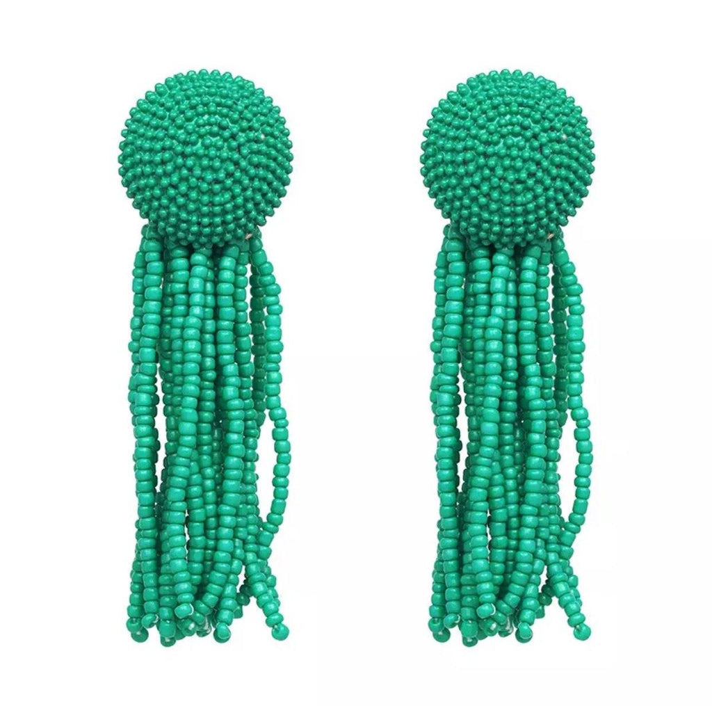 Beads of Love Earrings: Green - Bella and Bloom Boutique