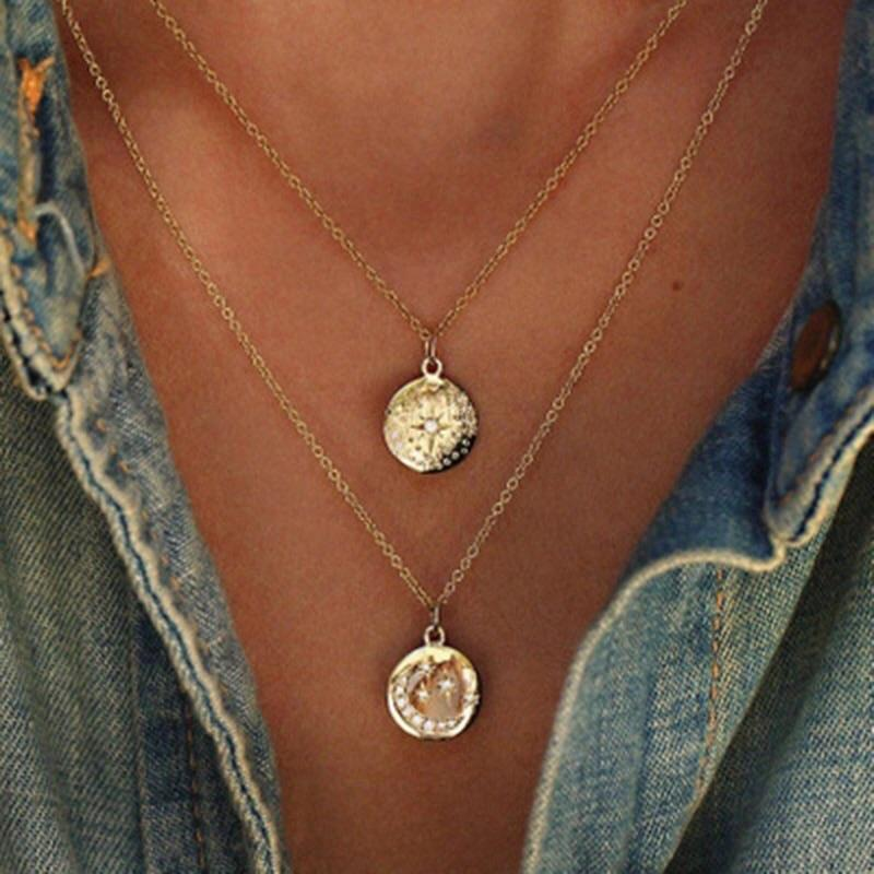 Moon and Stars Layered Necklace: Gold - Bella and Bloom Boutique