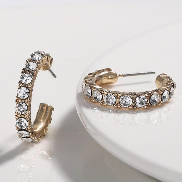 Classic Embellished Huggie Hoop Earrings: Gold - Bella and Bloom Boutique
