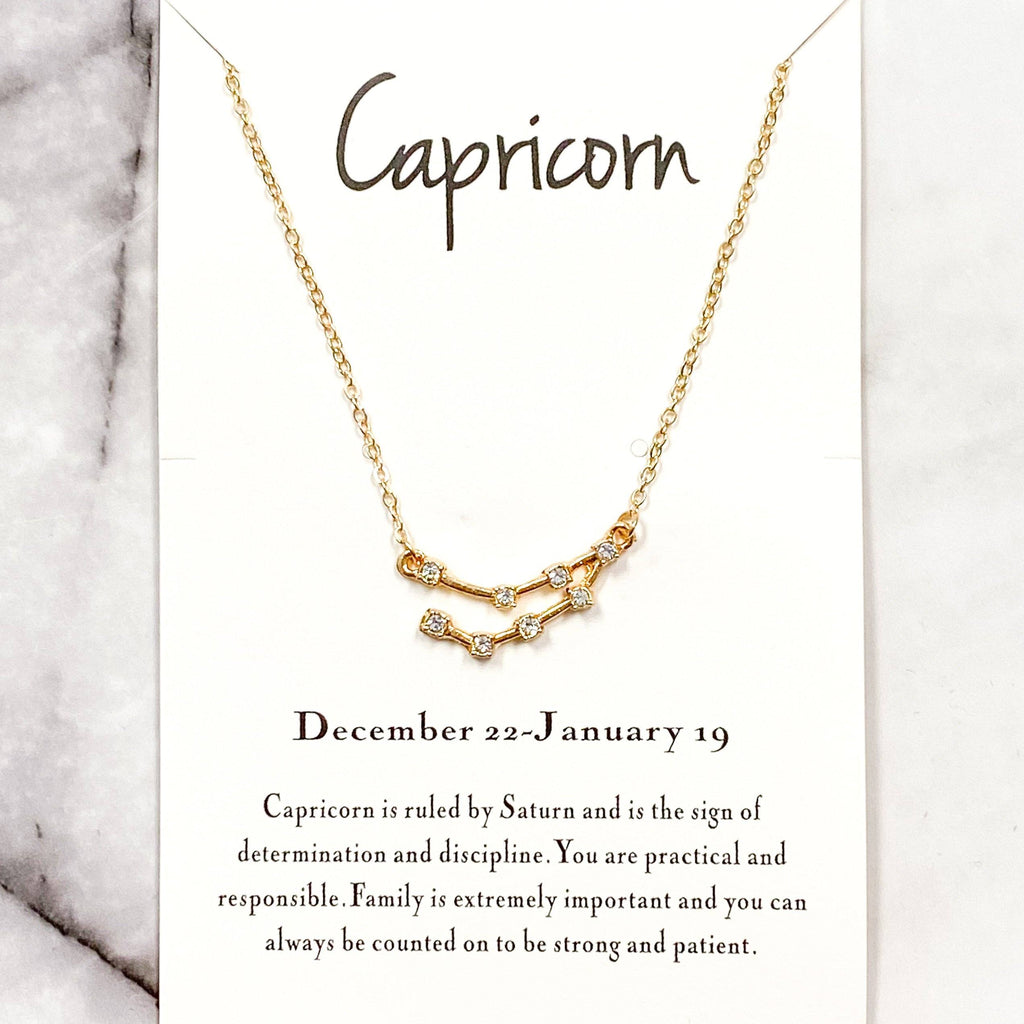 Zodiac Necklace: Gold, Capricorn - Bella and Bloom Boutique
