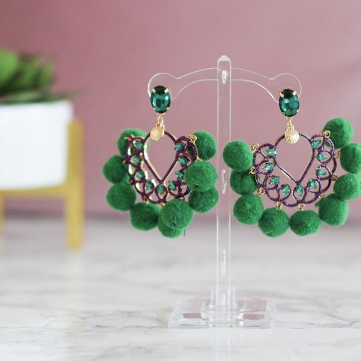 Cabo San Lucas Earrings: Green/Pink - Bella and Bloom Boutique