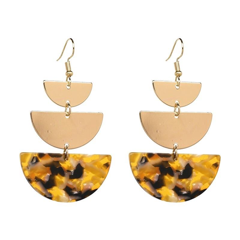 Geometric Arc Earrings: Tortoise - Bella and Bloom Boutique