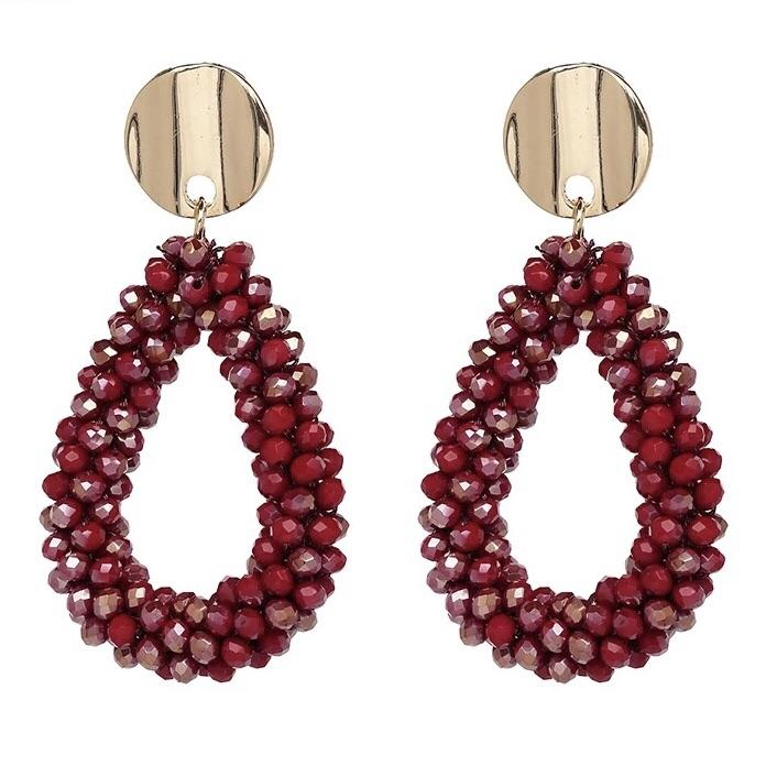 RESTOCK: Glimmer of Hope Earrings: Deep Red - Bella and Bloom Boutique