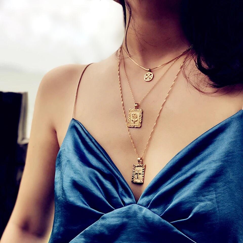 PRE-ORDER: Layered Rose/Cross Necklace: Gold - Bella and Bloom Boutique