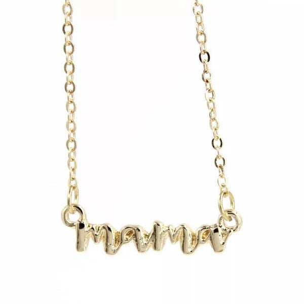 Mama Cursive Dainty Necklace: Gold - Bella and Bloom Boutique