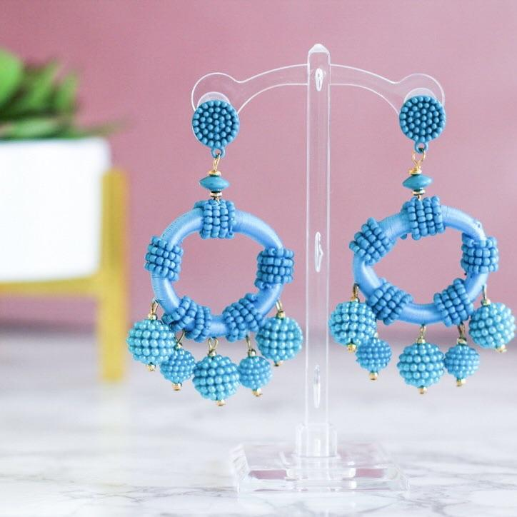 Tassel Twist Earrings: Turquoise - Bella and Bloom Boutique