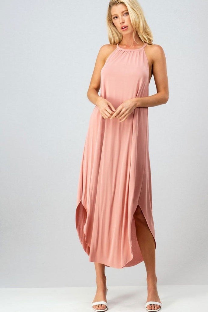 RESTOCK: Classic Circle Hem Midi Dress: Blush - Bella and Bloom Boutique