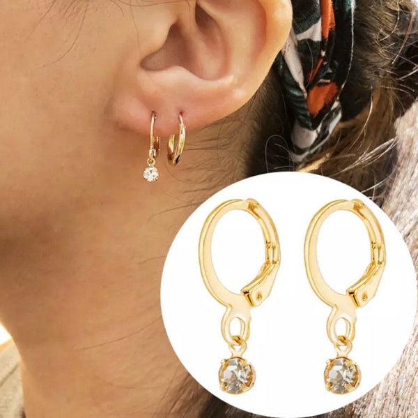 Simple Drop Huggie Earrings: Gold - Bella and Bloom Boutique