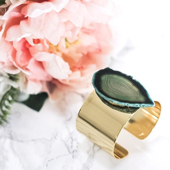 Agate Cuff: Green - Bella and Bloom Boutique