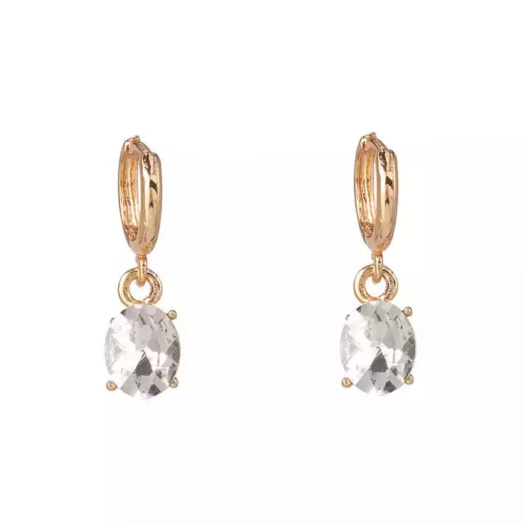 Dripping in Diamonds Huggie Hoop Earrings: Gold - Bella and Bloom Boutique