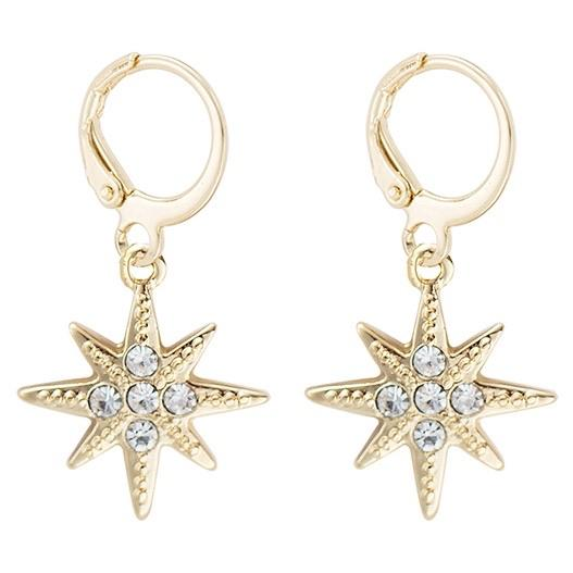 RESTOCK: North Star Huggie Hoop Earrings: Gold - Bella and Bloom Boutique