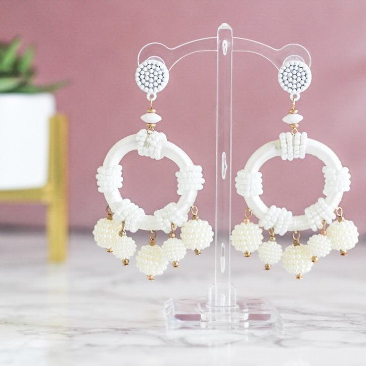 Beaded Bliss Earrings: White