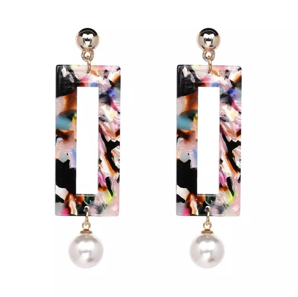 Marbled Pearl Earrings: Multi - Bella and Bloom Boutique