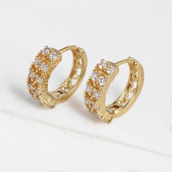 Double Embellished Huggie Hoop Earrings: Gold - Bella and Bloom Boutique