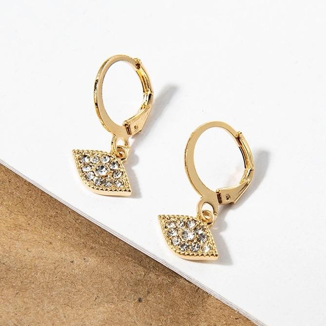 Evil Eye Huggie Earrings: Gold - Bella and Bloom Boutique