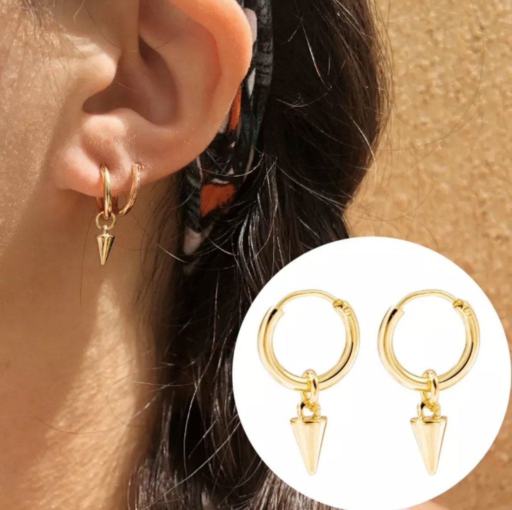 RESTOCK: Spike Huggie Earrings: Gold - Bella and Bloom Boutique