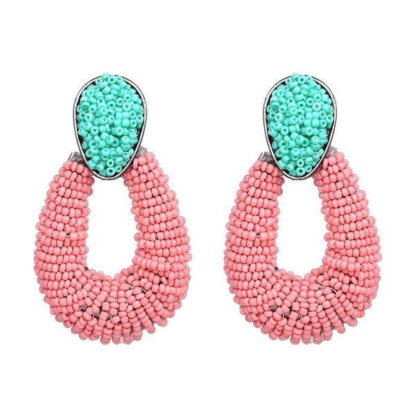 Cape Cod Earrings: Pink/Green - Bella and Bloom Boutique