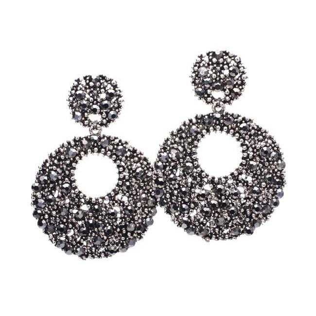 Glamour Girl Earrings: Gunmetal - Bella and Bloom Boutique